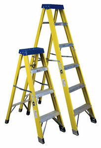 Fibreglass Step Ladders HEAVY DUTY Fibre Glass - 4, 6 & 8 Tread Available