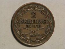 SWEDEN 1847 2 Skilling VF