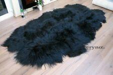 Icelandic Black Quad Sheepskin Rug, Carpet long hair