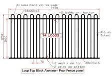 Loop Top Black or Primrose Pool Fence Aluminium Certified Australian Standard
