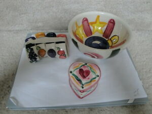 3 Different 1990's Vicki Carroll Pottery Bowl , Trinket Box and 4 Napkin Rings