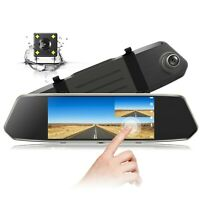 "TOGUARD Backup Camera 7"" Mirror Dual Dash Cam Toushscreen 1080P Rear View Camera"
