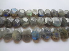 Large Irregular Faceted Nugget Natural Labradorite Gemstone Beads - 4pcs