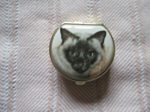 SMALL TRINKET BOX / PILL POT WITH SIAMESE CAT ON LID