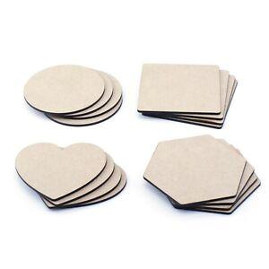 Wooden Coasters x10 MDF Plain 100mm Circle Square Polygon Blank Craft