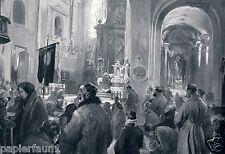 Kirche in Grajewo Polen XL Kunstdruck von 1915 Gottesdienst WK WW 1 Schwormstädt