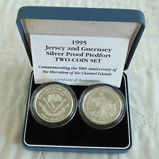 1995 JERSEY & GUERNSEY LIBERATION PIEDFORT 2 x £2 SILVER PROOF CROWN SET box/coa