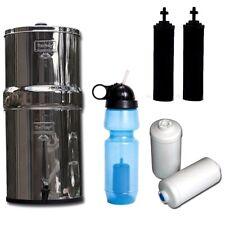 Travel Berkey Water Purifier w/2 Black Elements & 2 PF-2 Filters & Sport Bottle