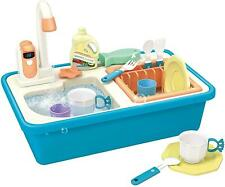 deAO Blue Pretend Kitchen Sink Play Set with Water Functions & Accessories