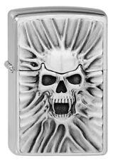 Zippo Briquet Scream of sable M. Emblème Brushed Chrome tete de mort neuf neuf dans sa boîte