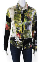 Roberto Cavalli Womens Abstract Floral Satin Button Up Blouse Silk Size XS