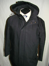 Hugo BOSS (Navigazione) SMART Gent'S Designer Nero Cappotto Con Cappuccio UK/US anni'40 EU anni'50