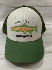 Patagonia World Trout Fishstitch Trucker Snapback Hat Mid Crown Green  Adjustable ade11eab5ced