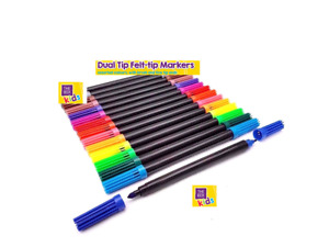 12 Pcs Pack Dual Tipped Coloured Felt Tipped Pens Double Ended Colouring Tips
