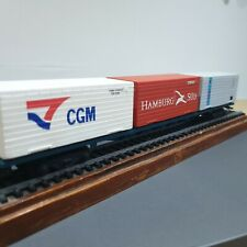 Hornby OO Flat wagon with CGM + MOL +HAMBURG SOD  containers