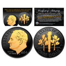 BLACK RUTHENIUM 1964 U.S. Genuine Silver BU Roosevelt Dime with 2-Sided 24K GOLD