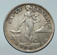 1945 S PHILIPPINES Under US Administration Eagle Silver 50 Centavos Coin i85771