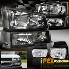 2003-2006 Chevy Silverado 1500/2500HD/3500 Black Headlight + Signals + Fog Light