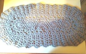 Crochet bath mat, Bedroom rug, Pet mat, Acril oval rag rug, Lace area mat
