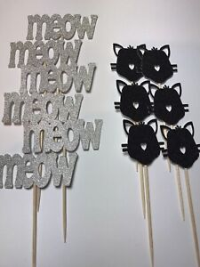 12 Black And Silver CAT THEMED CupCake Pick Toppers Party Cake Decorations