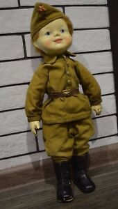 RARE! Vintage ussr Russian Soviet TOY DOLL OF SOLDIERS DEFENDER PAPIER-MACHE