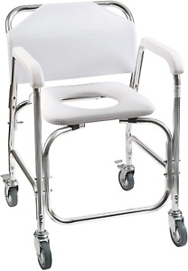 taburete silla con ruedas banqueta para ducha e inodoro transporte seguro comodo