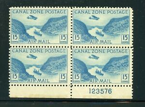 CANAL ZONE MLH Multiple Selections: Scott #C10 15c Blue GAILLARD CUT CV$5+