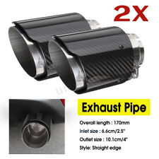 2X 66mm-101mm Universal Carbon Fiber Car Auto Exhaust Pipe Tail Muffler End Tip