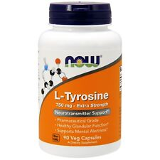 Now Foods L-Tyrosine - Highest Potency - 90 - 750mg Capsules - Brain Support