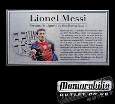 Lionel Messi Silver Metal Plaque Nameplate For Signed 2013 Barcelona shirt photo