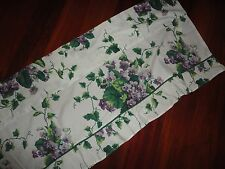 WAVERLY SWEET VIOLETS PURPLE GREEN FLORAL LEAVES (1) RFUFFLED VALANCE 16 X 70