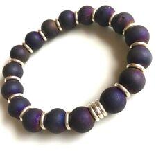 Purple Druzy Quartz Agate beads & Links Of London sterling silver Bracelet sm/m