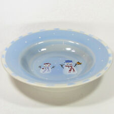 "Hartstone Pottery SNOW PEOPLE 12.5"" Large Serving Bowl Snowman Blue Crate Barrel"