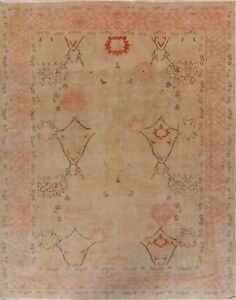 Antique Oushak Turkish Vegetable Dye Hand-Knotted Oriental Area Rug 8x10 Carpet