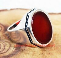 Solid New Red Agate Aqeeq Stone 925 Sterling Silver Turkish Mens Ring ALL Size