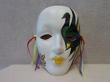 One (1) Porcelain Mardi Gras Mask - White/Blue/Yellow                       05x4