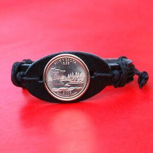 US 2005 Minnesota State Quarter BU Unc Coin Genuine Leather Cuff Bracelet