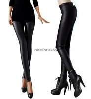 HOT Women High Waist Faux Leather Look Stretch Pants Leggings Trousers Size S-XL