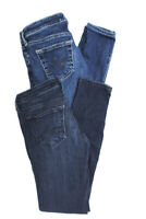 AG Adriano Goldschmied Womens Low-Rise Skinny Jeans Blue Cotton Size 24 Lot 2
