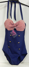 Size Large Pretty Attitude Sailor Nautical 50's Retro One Piece Bathing Suit