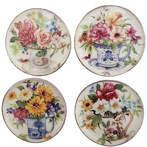 Miniature Dollhouse Set of 4 Floral Flower Plates Handemade USA 1:12 Scale New