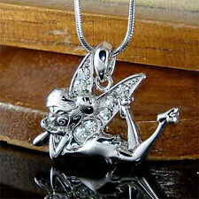 w Swarovski Crystal Clear Fairy Tinkerbell Tink ANGEL Pendant Charm Necklace NEW