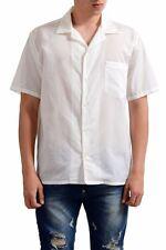 Marc Jacobs White Men's Shot Sleeve Button Front Casual Shirt US S IT 48