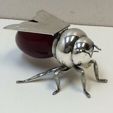 VTG‼ ANTIQUE SILVER PLATED HONEY BEE JAM POT RED GLASS