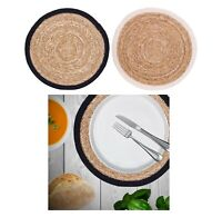 2 Pack Of Round Weaved Placemats Jute Natural Cotton Rope Dining Table Place Mat