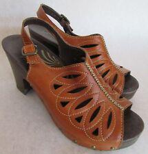 """DANSKO Brown """"Crazy Horse"""" Sandal Clog Leather Slingback High Wood Heel Size 41"""