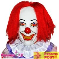 Mens Creepy Clown Latex Pennywise IT Scary Circus Halloween Mask Hair + Collar