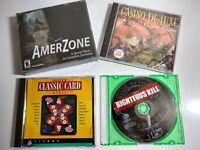 Lot of 4 Vintage PC Windows 95, Windows 3.1 Games:  Amerzone, Casino De Luxe...