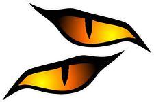 Pair Evil Eyes Eye Orange Colour vinyl car motorbike helmet sticker 70x30mm ea.