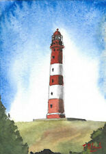 ORIGINAL AQUARELL - Leuchtturm Amrum.